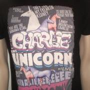 Charlie the unicorn black tshirt for men humor tee vintage style effect